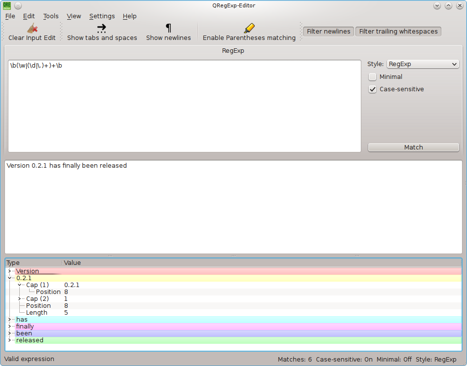 Screenshot of QRegExp-Editor on Linux