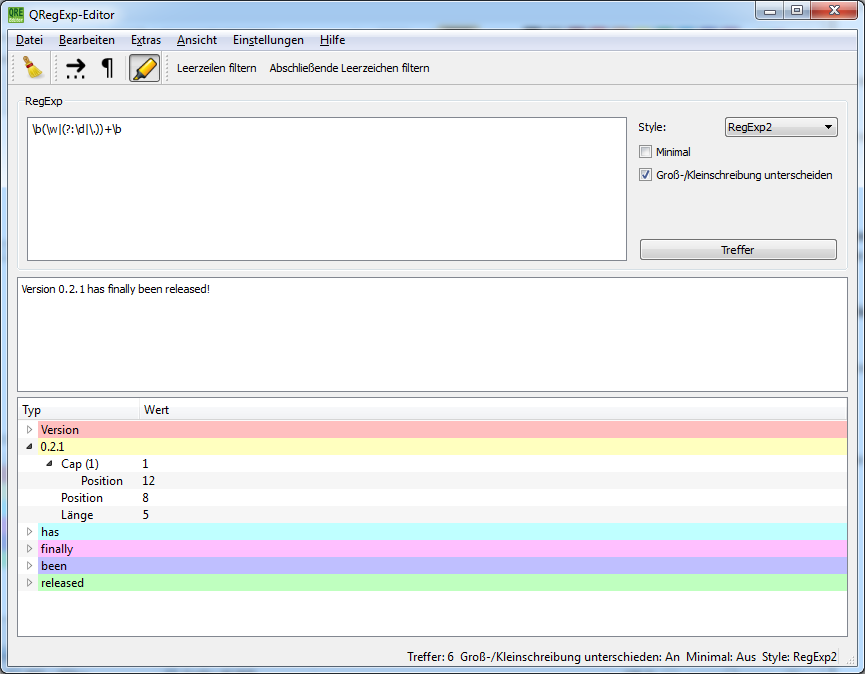 Screenshot of QRegExp-Editor on Windows 7